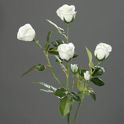 Rosenzweig 72cm weiß DP Kunstblumen künstliche Blumen Rose Seidenblumen