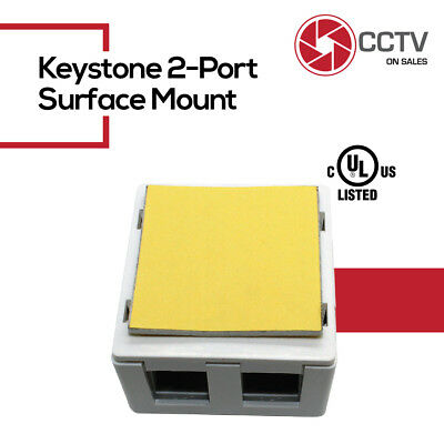 Keystone Jack Surface Mount Box - 2 Port Keystone Jack Surface Mount Housing Box Cat5e RJ45 White Plus 2 Keystones