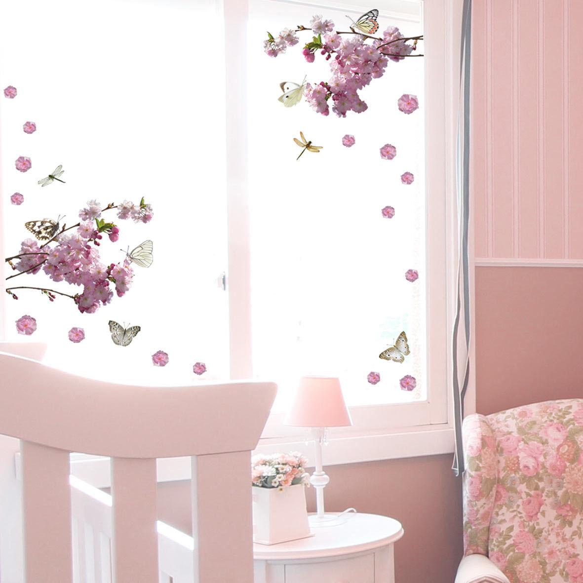 Aufkleber Sticker Wandaufkleber Wandsticker Blume Schmetterling Fenster Möbel WC