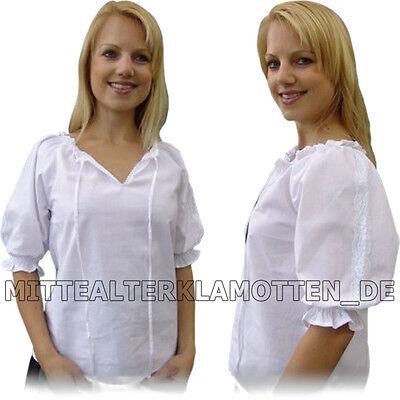 Weiße Baumwolle Blusen (leichte BLUSE 4 FARBEN - XXXS-XXXL Mittelalter Baumwolle Carmen Mittelalterbluse)