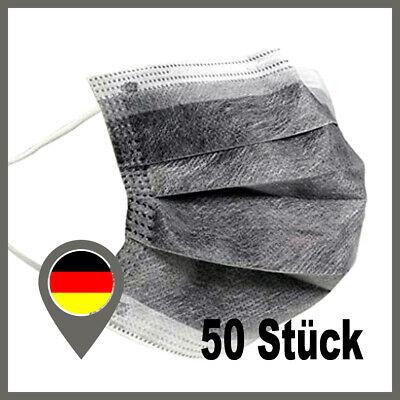 50 Mund Masken Maske 4 Lagig Einwegmaske Mund Nasenbedeckung Hygiene Grau