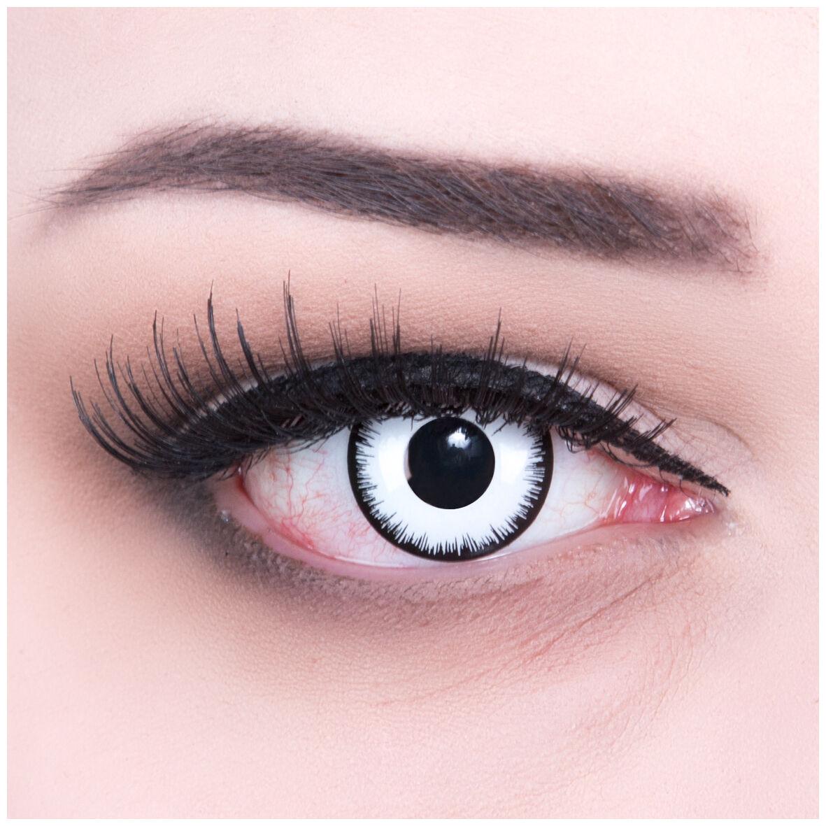 Farbige Lunatic Kontaktlinsen GRATIS Behälter Fun weiße Halloween Funnylens