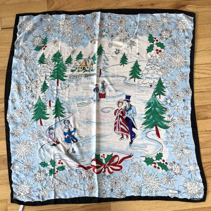 Vintage Pendleton Christmas Scarf 100% Silk