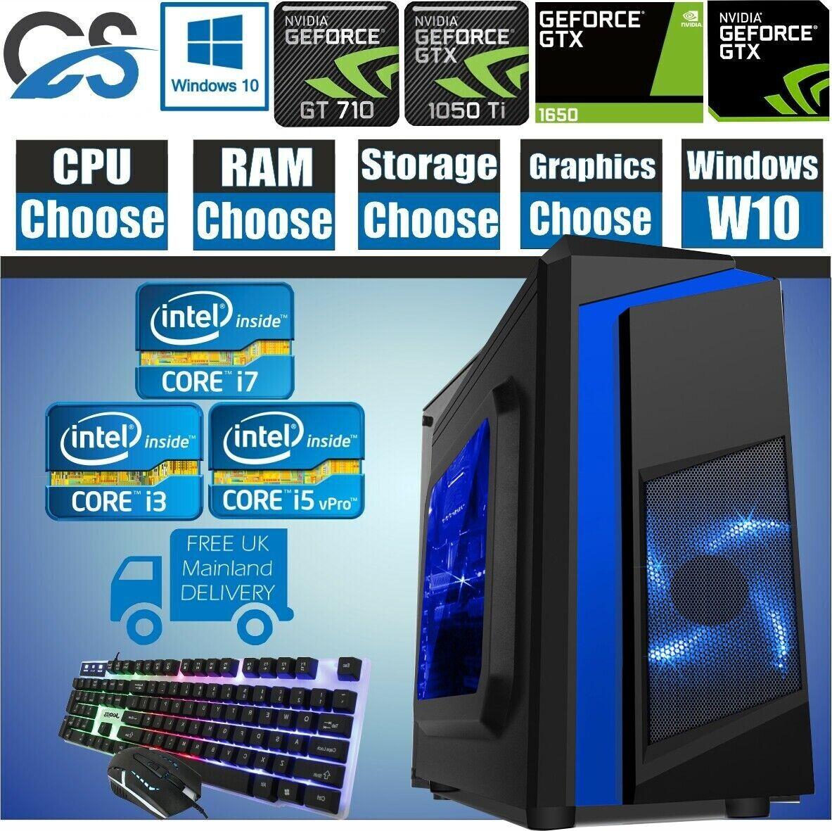 Computer Games - ULTRA FAST i3 i5 i7 Desktop Gaming Computer PC 2TB 16GB RAM GTX 1660 OS W10
