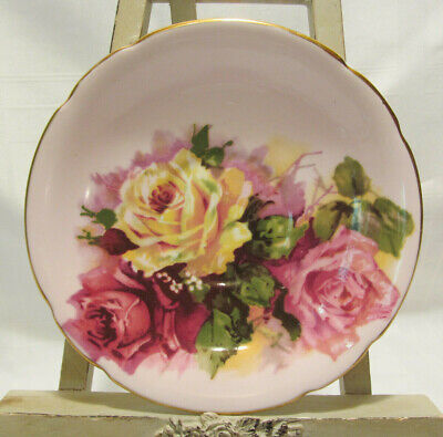 England Pink Rose - Stanley England Pink Yellow Red Cabbage Rose Fine Bone China 5 1/2