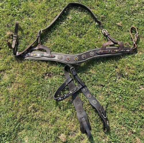 Antique/vintage studded Western horse bridle/breastcollar set w/colorful stones