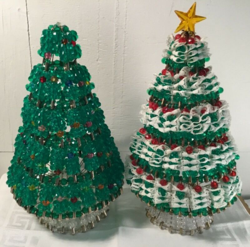 "Vintage 2 Handmade Beaded 10"" Safety Pin Christmas Tree"