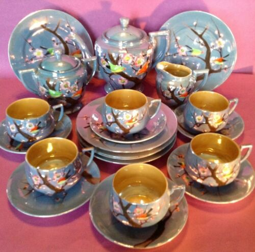 Hand Painted 21 pc Tea And Dessert Set - Blue Luster With Figural Birds - Japan