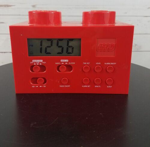 LEGO Red Portable Digital Clock AM/FM Radio W/Night Light LG11000 Year 2009