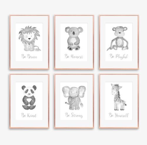 Neutral Grey Safari Animal Baby Nursery Prints Childrens Bedroom Pictures Decor