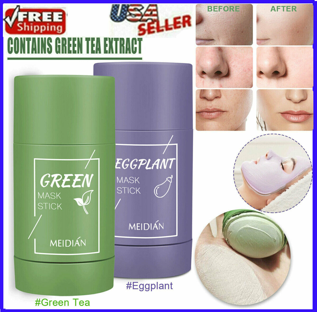 Green Tea Clay Mask Stick Purifying Facial Deep Cleansing Blackhead Acne Remover Health & Beauty