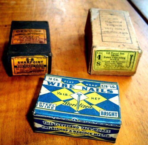 3 VNTG BOXES of COBBLER  NAILS-HOLDFAST/CHAS BAKER;ATLAS; CLEVELAND TACK WORKS