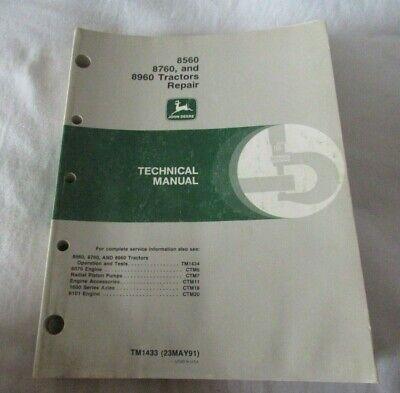 John Deere 8560 8760 8960 Tractor Factory Repair Technical Manual Tm1433