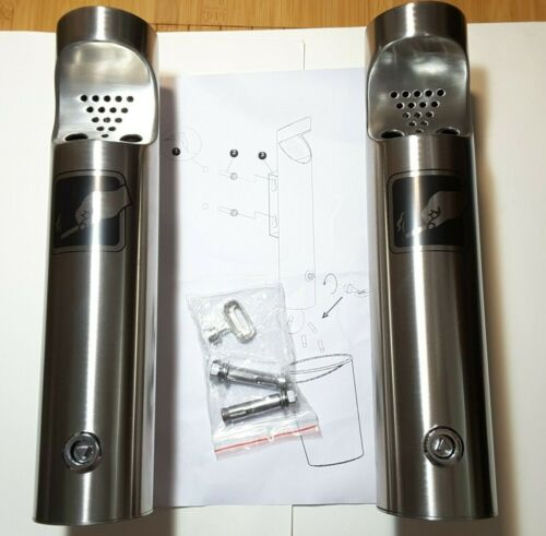 2 Total - Elitra Wall Mounted Outdoor Stainless Steel Cigarette Butt Receptacle
