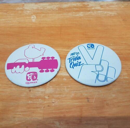 Vintage Quaker Oats Advertising Pinback Buttons Woodstock 1967-1972 Trivia Quiz