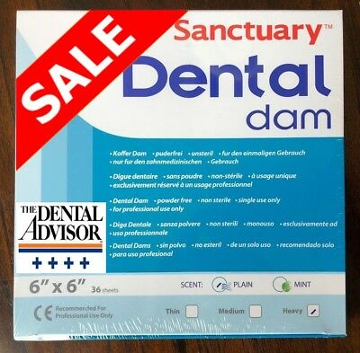 Sanctuary Dental Rubber Dam Latex 6x6 Heavy Blue Sheet 36pk High Quality