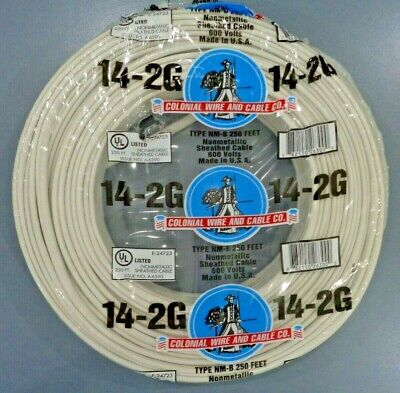 14-2 Romex Nm-b Wire 250ft 142 Indoor Electrical Copper Wire Cable Wground Usa