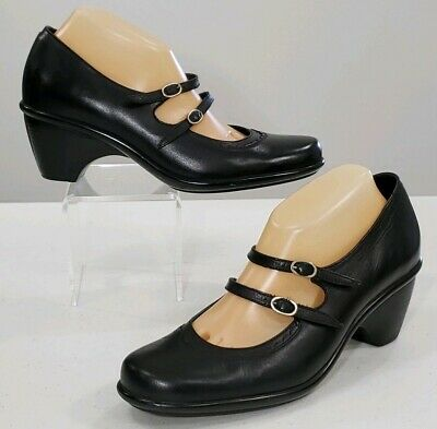 Dansko Babette US Womens 10.5 - 11 Black Leather Double Buckle MaryJane Shoe -