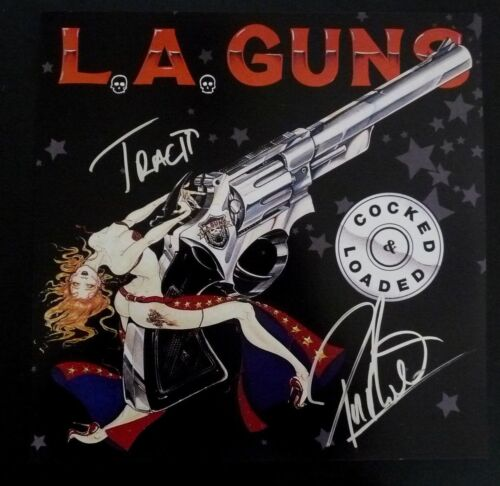 Phil & Tracii L.A. Guns Signed Autographed 12X12 Cocked Photo PSA Guaranteed