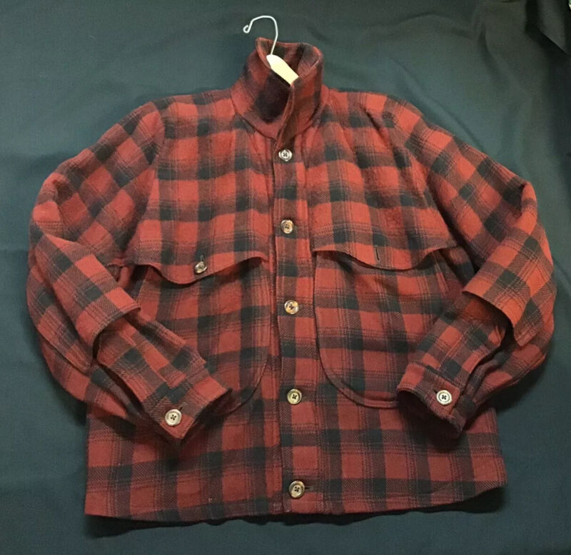 Vintage Carss Mackinaw Black Red Plaid Check Wool Button Front Hunting Jacket
