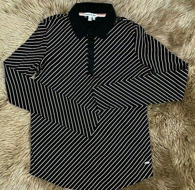 NWOT LACOSTE WOMEN BLACK  NUDE STRIPE TOP DRESS POLO SHIRT SIZE 38  XS - S