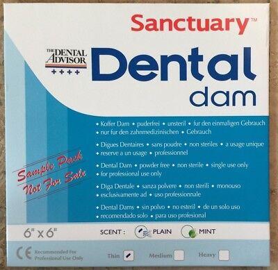 Free Sample Pack 3pk -sanctuary Dental Rubber Dam Latex 6x6 Thin Blue Wholesale