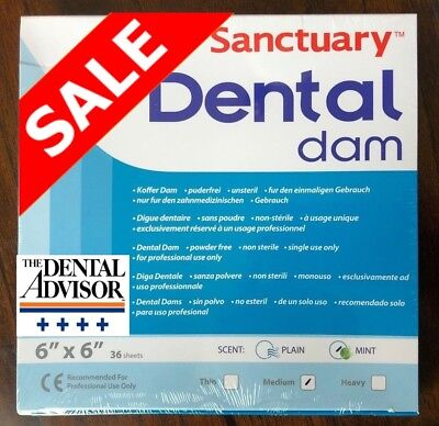 20 Box 720 Sheet Sanctuary Dental Rubber Dam Latex 6x6 Medium Mint Green -onsale