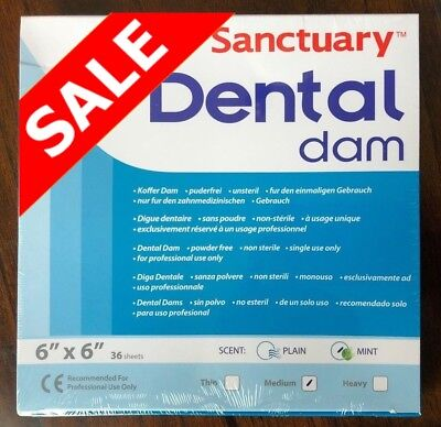 5 Box180pcs Sanctuary Dental Rubber Dam Sheet Latex 6x6 Medium Mint Green 36pk