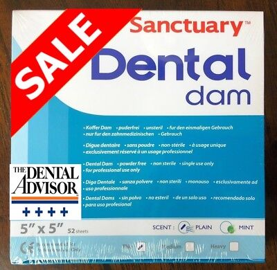 5 Box 260 Pcs Sanctuary Dental Rubber Dam Sheets Latex 5x5 Thin 52pk Blue