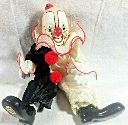 Vintage Victoria Impex Porcelain Circus Clown Wind-up Animated Musical -Rare!