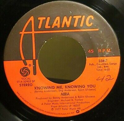 "Knowing Me Knowing You/Happy Hawaii by ABBA 7"" single 45rpm (1977 Atlantic)"