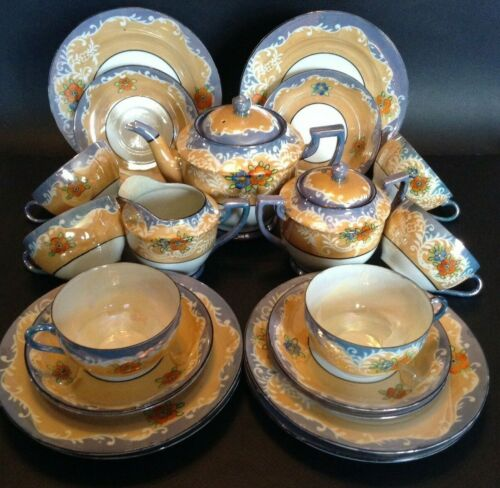 Moriyama Hand Painted 21 Piece Tea & Dessert Set - Amber And Blue Luster - Japan