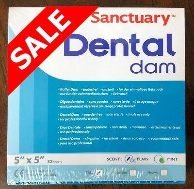 20 Box 1040 Sheet Sanctuary Dental Rubber Dam Sheets Latex 5x5 Thin Blue 52pack