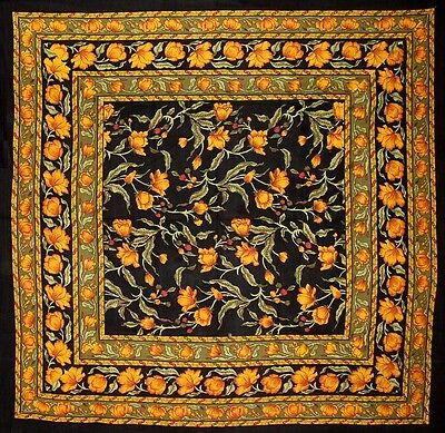 "French Floral Square Cotton tablecloth 60"" x 60"" Amber on Black"