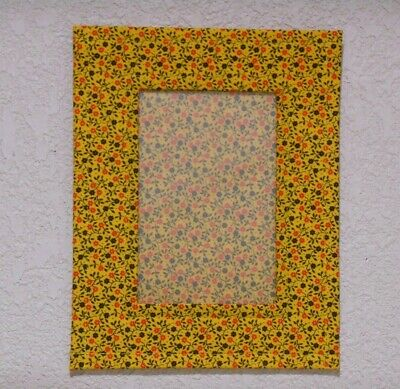Picture Frame Fabric Cloth Photo Frame Yellow Red & Black Flowers fits 4x6 Photo