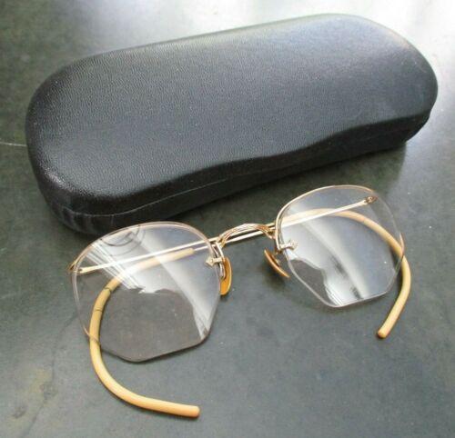 Antique Vintage Eyeglasses Glasses top wire rim RX Leather Case black