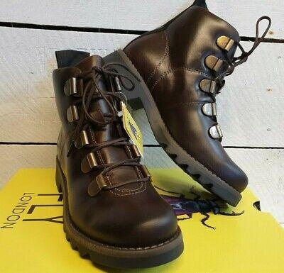 Ladies Fly London Roji Dark Brown Leather Lace up Ankle Boots Ladies Dark Brown Leather