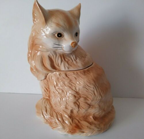 Vintage 1991 AMC Earthenware ORANGE TABBY CAT Ceramic Cookie Jar !READ BELOW!