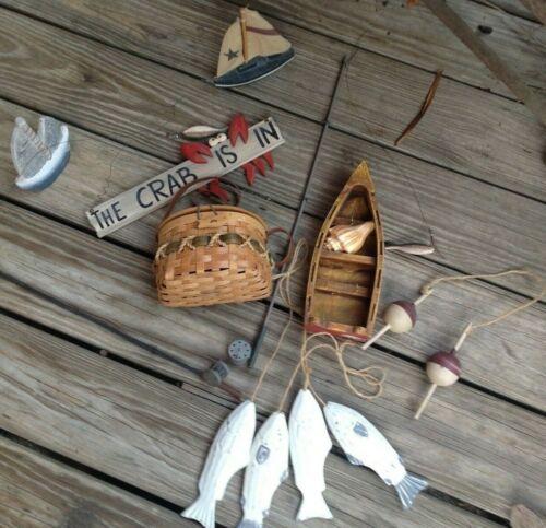 lot of fishing cabin lakehouse decor Fish Canoe Bobbins Sailboats poles
