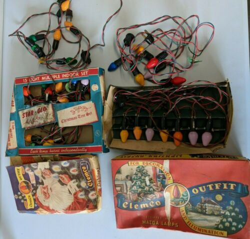 Working Lot of 6 Strings Vintage Christmas String Lights ClemCo Outfit & Bulbs!
