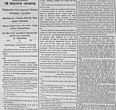 CHARLESTON CONVENTION - STEPHEN A. DOUGLAS 1860 Newspaper / HEENAN & SAYERS