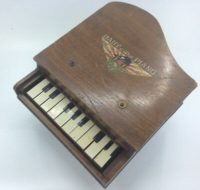 Toy Vintage Baby Grand Piano Wood J.W.
