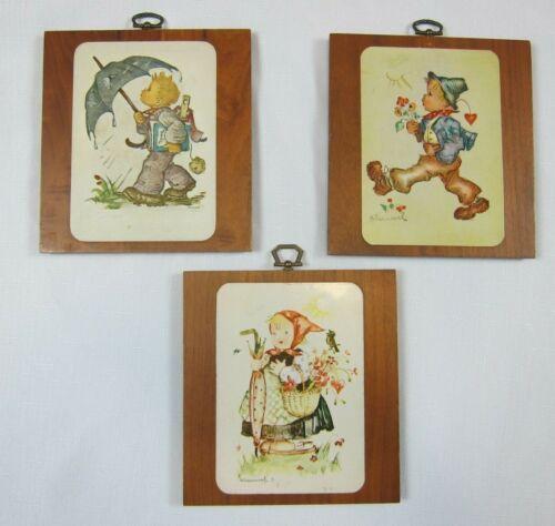 Lot of 3 Vintage Hummel Wood Wall Plaques Boy & Girl Umbrella Flowers Basket
