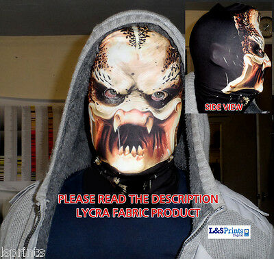 ALIEN DESIGN SCARY HALLOWEEN FULL FACE MASK FANCY DRESS FABRIC LYCRA L&S PRINTS ()