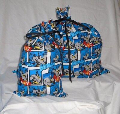 Batman Gift Bag (Batman Design Homemade Fabric Gift Bag with Attached)