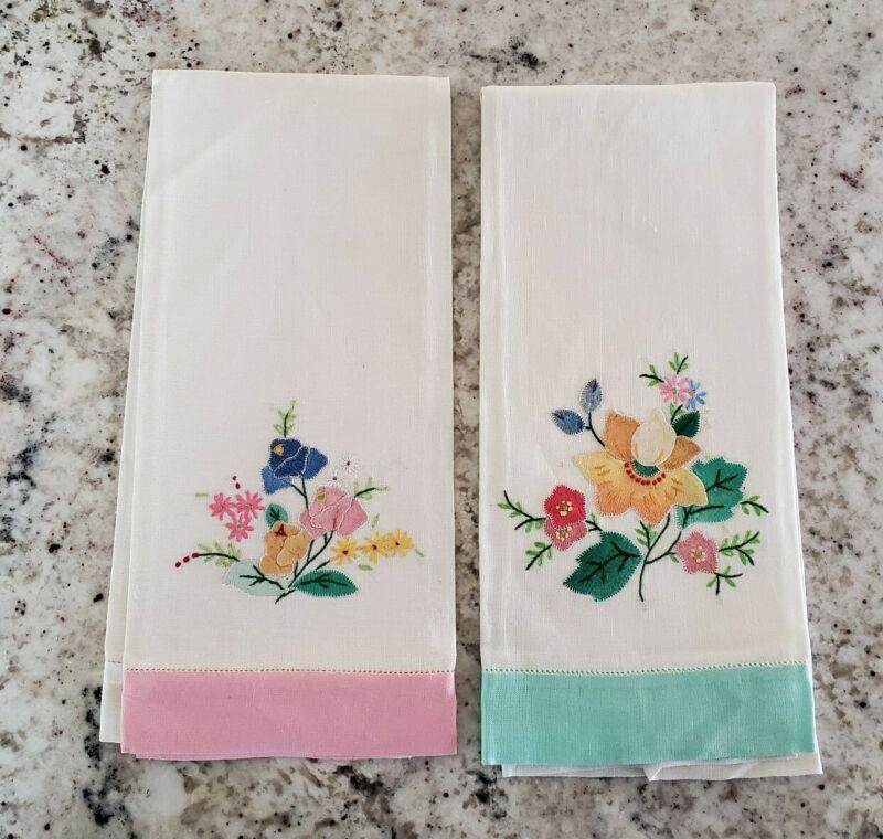 Vintage Hand Embroidered Appliqued Floral LINEN Finger Tip Towels; Qty 2 Madeira