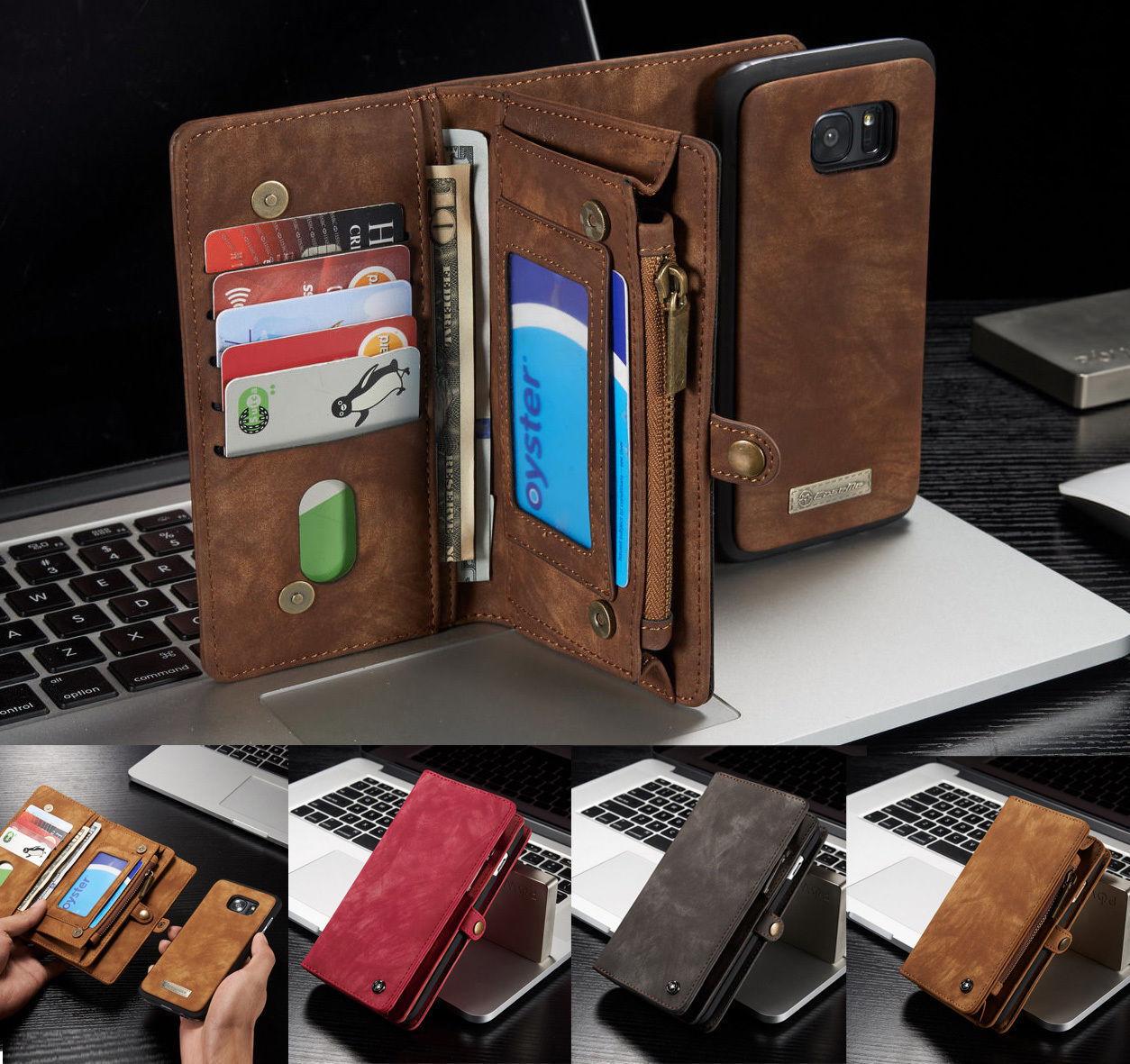 Leder Multifunktion Wallet Case Handy Tasche Schutz Hülle Cover Bumper Etui