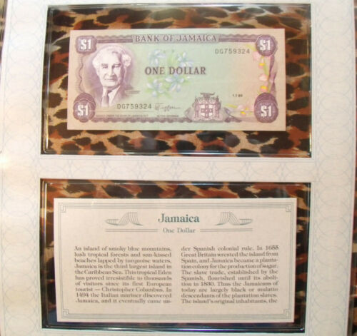 *Most Treasured Banknotes Jamaica 1 Dollar 1989 UNC P 68Ac sign 9