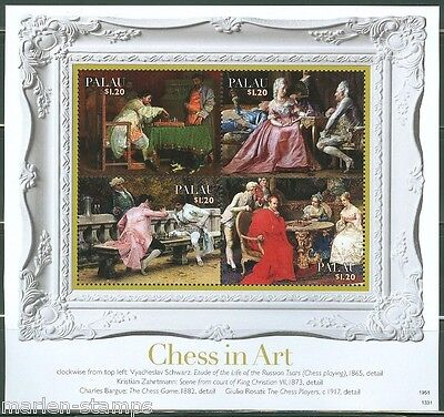 PALAU 2014 CHESS  IN ART  SHEET  MINT NEVER HINGED