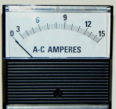 New Jewell Modutec Ammeter Ac 0-15 Amp Iron Vane Analog Panel Metermade In Usa